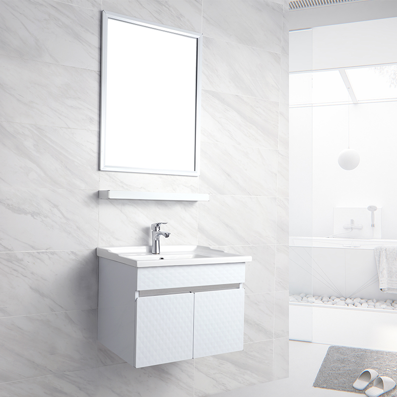 Stainless Steel Wall Mounted Bathroom Vanity Cabinets with Make Up Mirror T-125