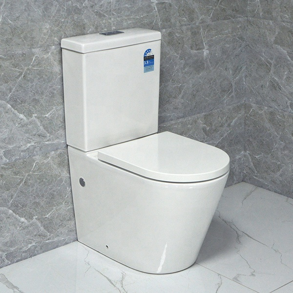 rimless flush watermark toilet with UF seat cover and flush machine for small bathroom