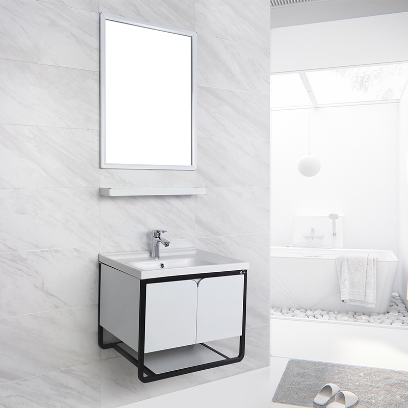 Wall Mounted Small White Mirror Bathroom Vanity