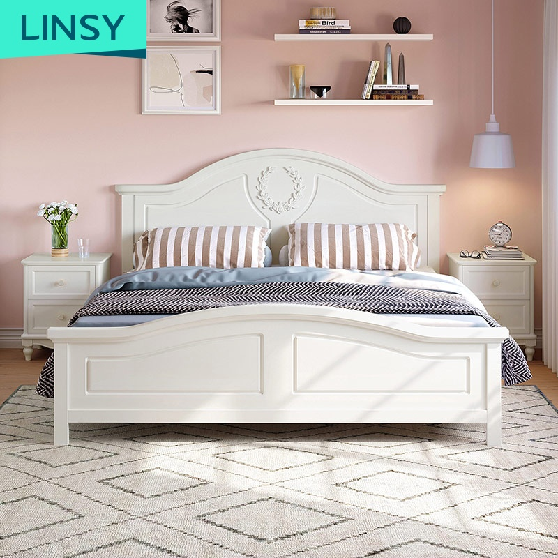 Double European bed 1.5 m modern minimalist white 1.8 meters bedroom furniture bed