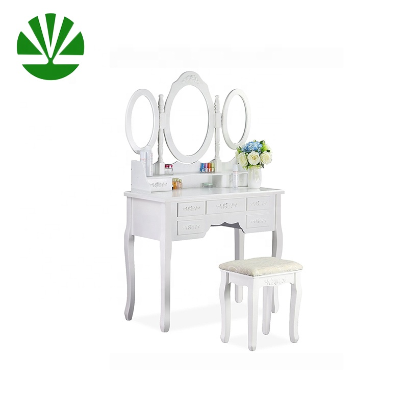 light luxury Foldable 3 Oval Mirrors 7 Drawers White Multi-functional dressing table in simplistic queen anne legs