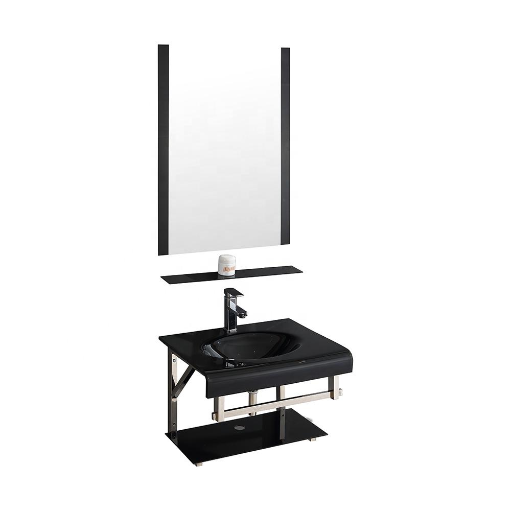 Bathroom Furniture Corner Round Glass Water Basin With Shelf
