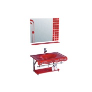 South American hot sale wall-mounted red sink bathroom glass basin