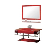 new design rectangle sink red glass basin for home