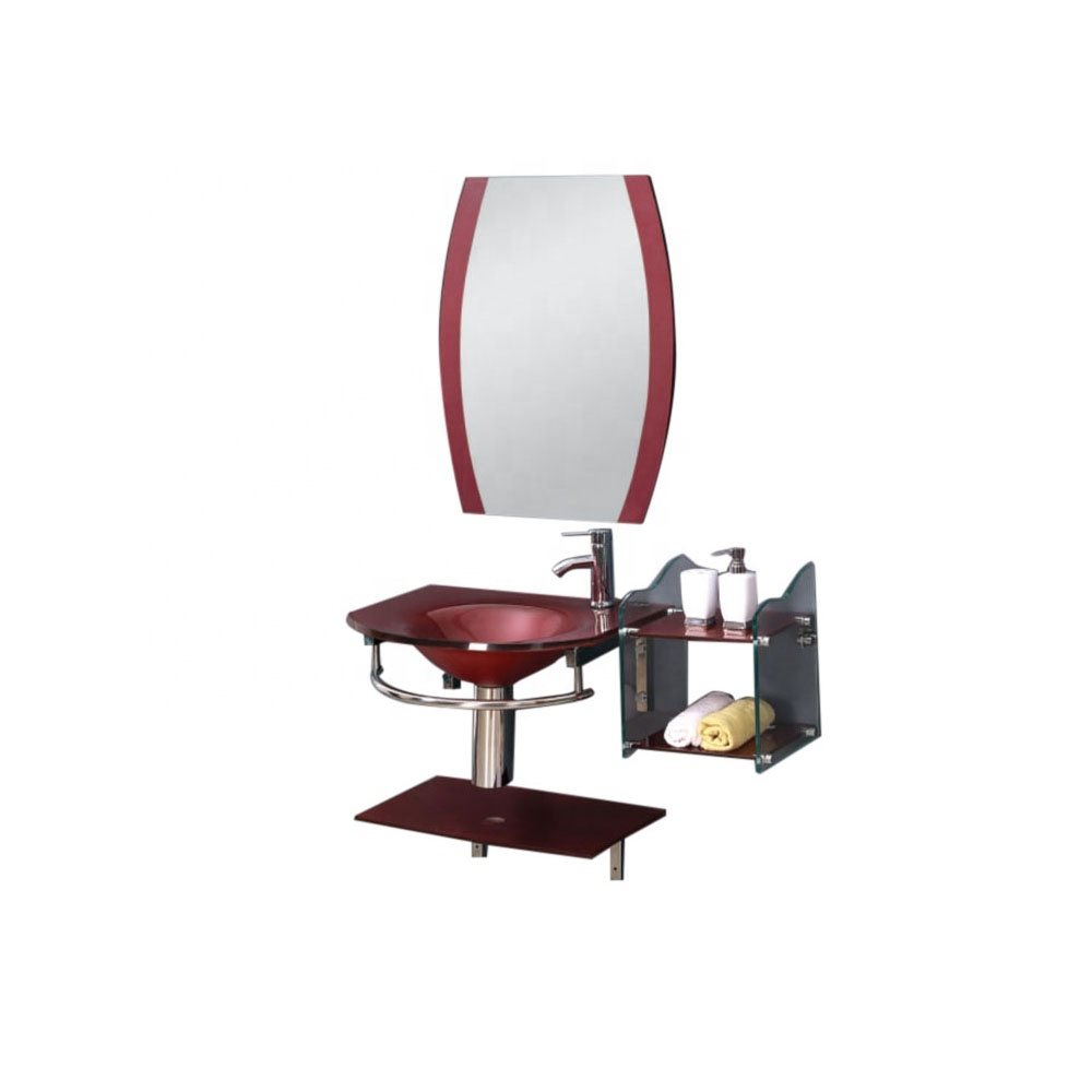 new design irregular mirror red glass basin for home