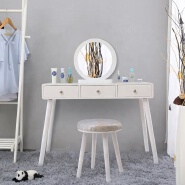 white professional vanity makeup table with lighted mirror