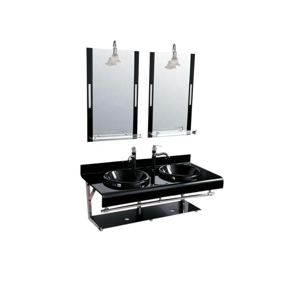 Brazilian style double basin with black glass basins glass vessel sink wash basin