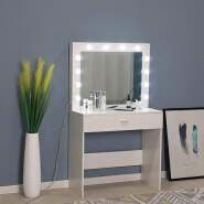 cheap modern wood make up desk station vanity set with lighted mirror