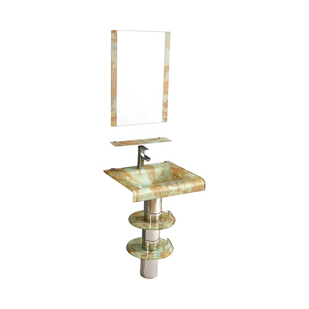 South American Hotel Decoration Small Bathroom Washing Basin Glass Basin Set