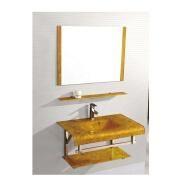 Yellow Glass Basin With Stainless Steel Bracket+Single Mirror+Shelf