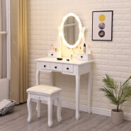 fresh clean white colourvintage appeal convenient cute comfortable vanity table with lighted mirror