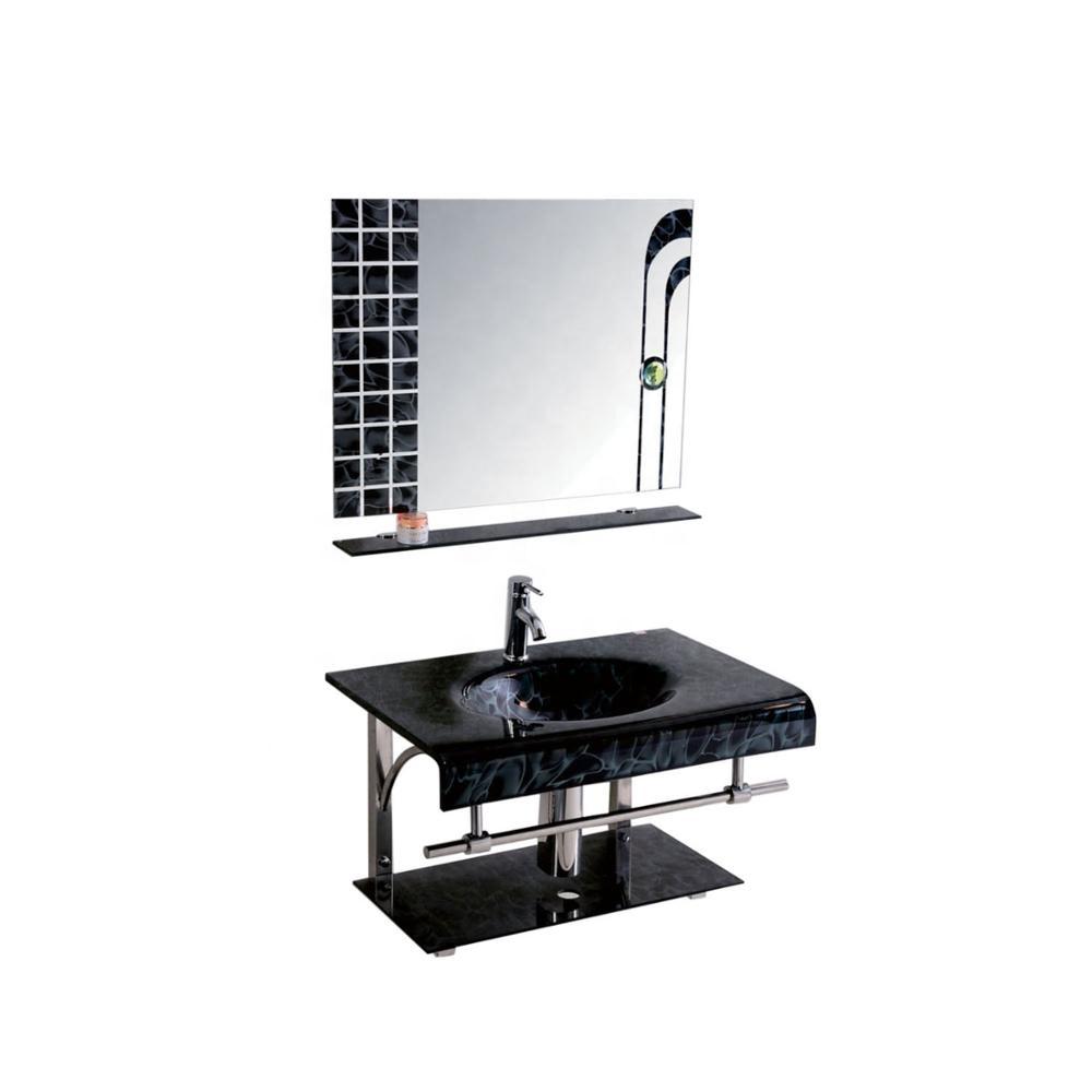 New design Economical Bathroom Glass Basin with mirror