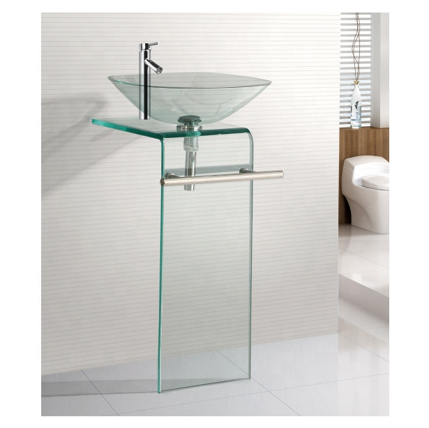 Modern Design Bowl Tempered Glass Basin With SS Towel Rack