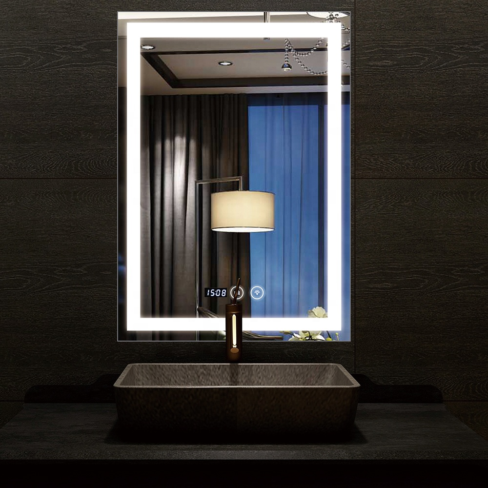 Hotel decoration wall-mounted backlit bathroom mirror with led lights bathroom