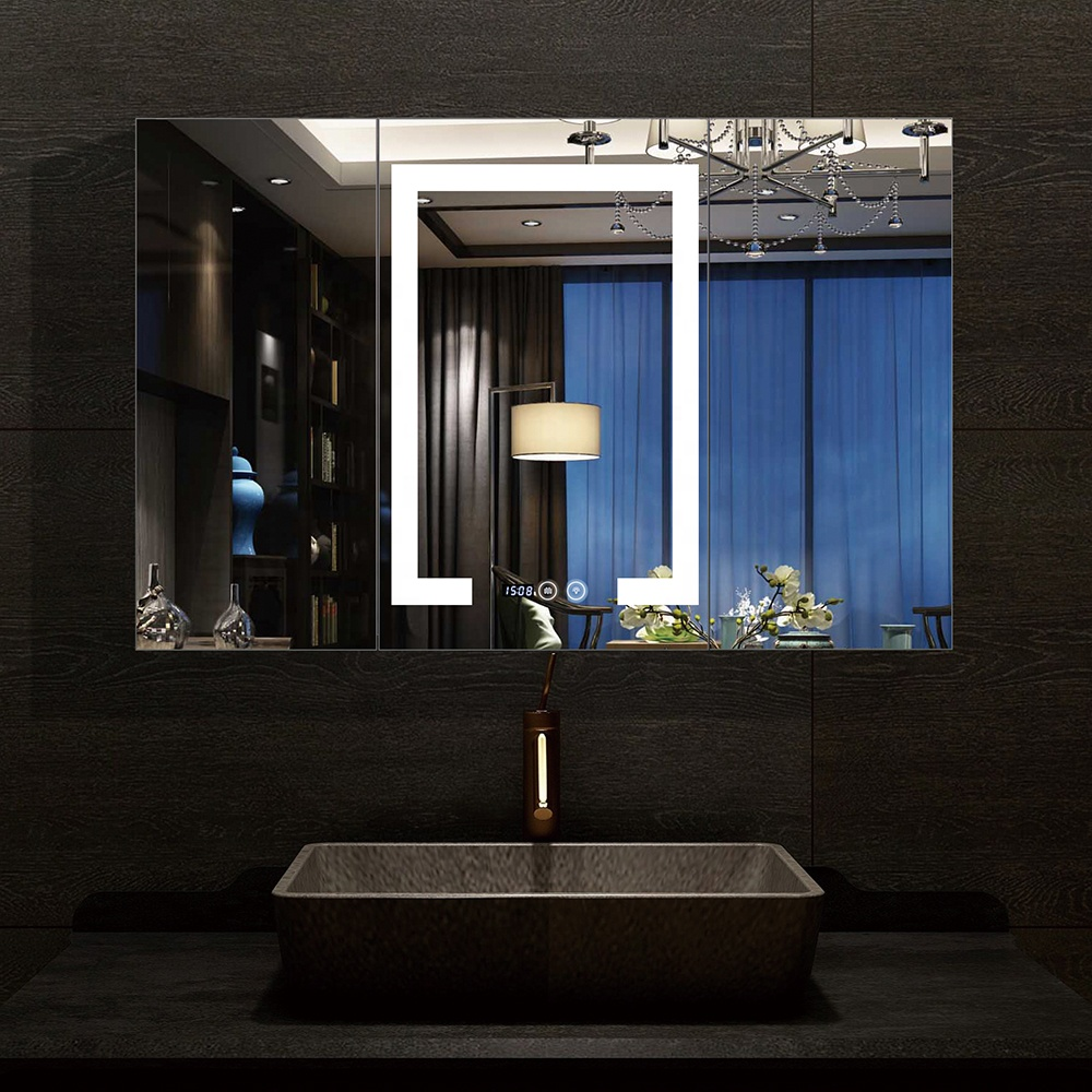 Home Decor Makeup smart LED Bathroom Mirror wall mounted with bluetooth