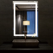 2020 new hotel led light bathroom mirror with time anti fog bluetooth