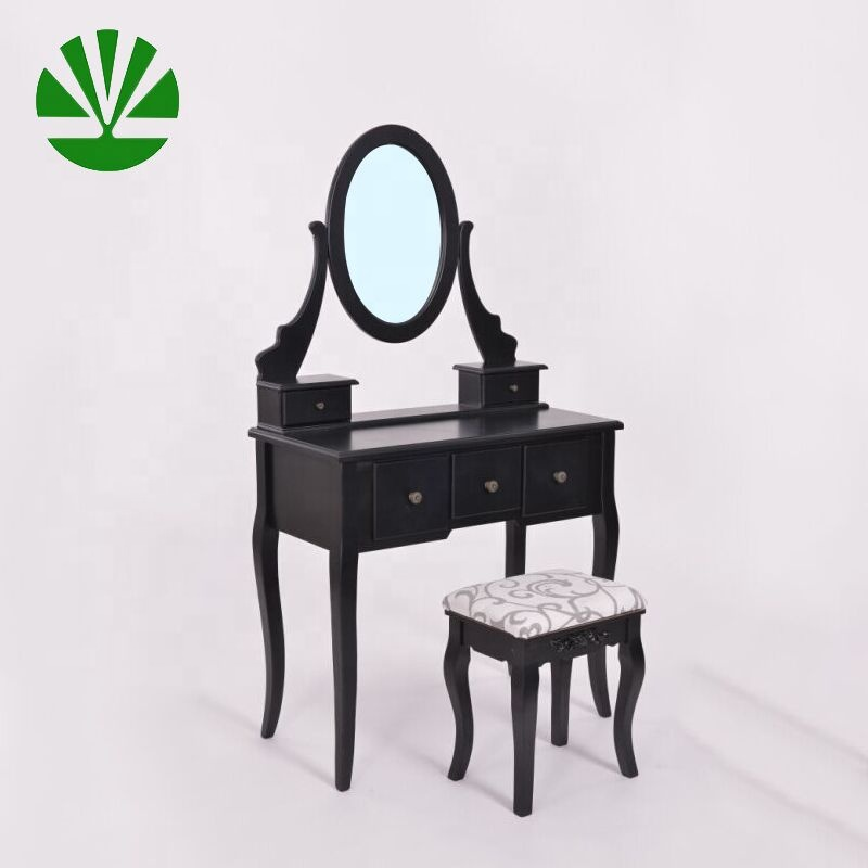 Handmade wooden vanity dressing table with mirror and stool