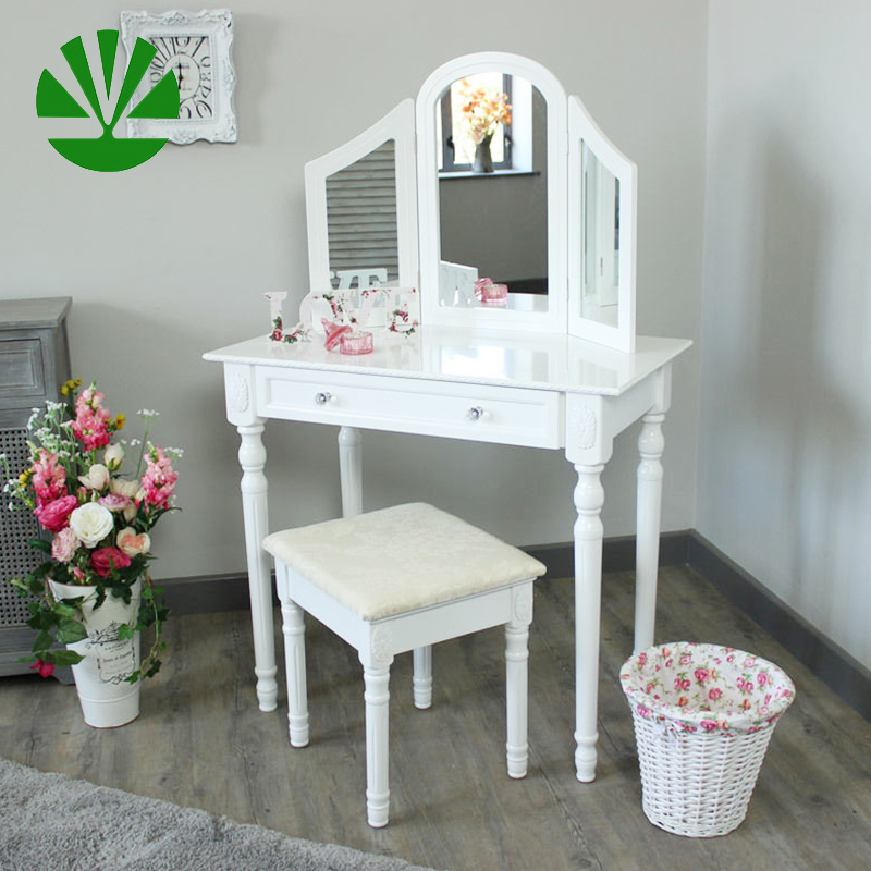 W-LZ-802 wood modern dressing table with foldable mirrors