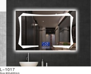 Bathroom Smart LED Mirror With Time Display And Anti-Fog led bathroom mirrors china made
