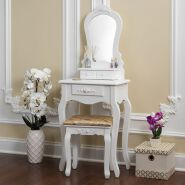 W-HY-025 french style wood modern small dressing table with mirror