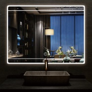 Rectangular reduced led bathroom mirror with adjustable light