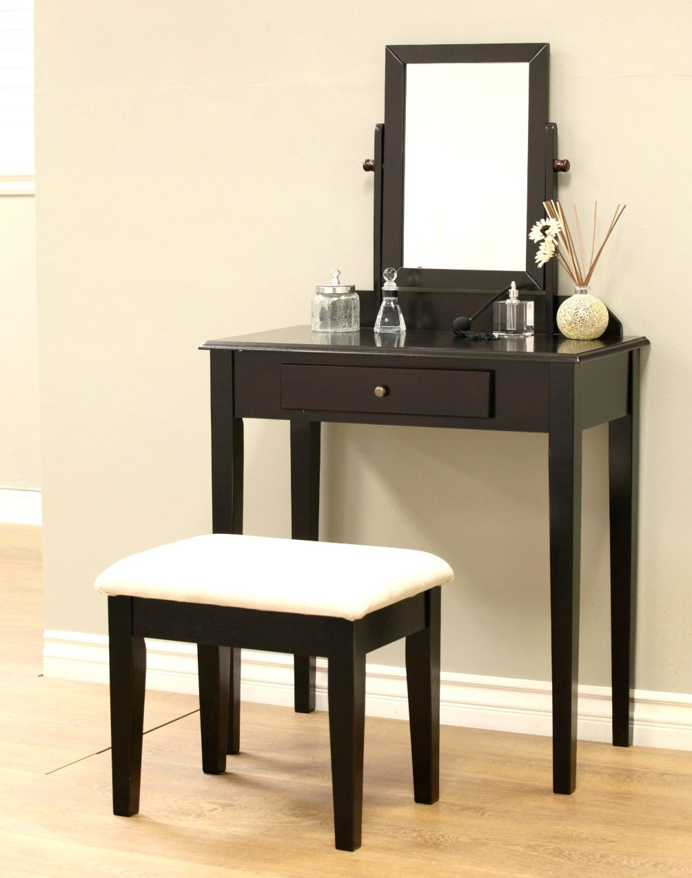 W-HY-0610 French Furniture dressing table Wood 3 Pc Vanity Set in Espresso Finish