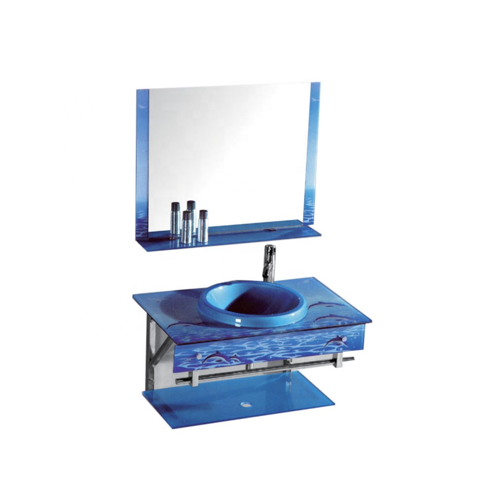 Cheap low price factory hot sale blue bathroom glass wash glass basin