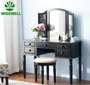 W-HY-1012 5 Drawer 3 Mirrored Wooden Dressing makeup vanity Table Dresser kommode