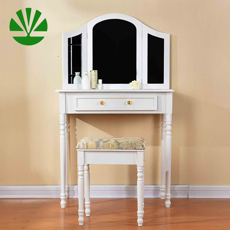 wooden modern corner dressing make up table with mirror