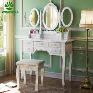 W-HY-1010 Modern Bedroom Furniture Wood white dressing Table Mirror with Drawer Dresser