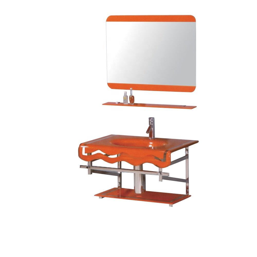 Factory wholesale price bathroom wash basin glass basin set with glass shelf