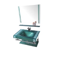 hot sale green glass basin with silver mirror for bathroom