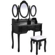 MDF Antique Bedroom 3 Mirror and Stool Dressing Vantiy Table