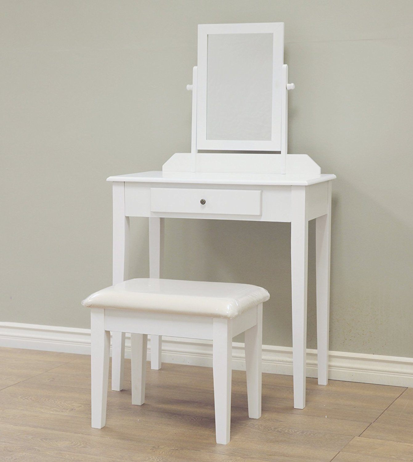 W-HY-0611 French style Home Furnishing 3 Piece Wood White Vanity Set