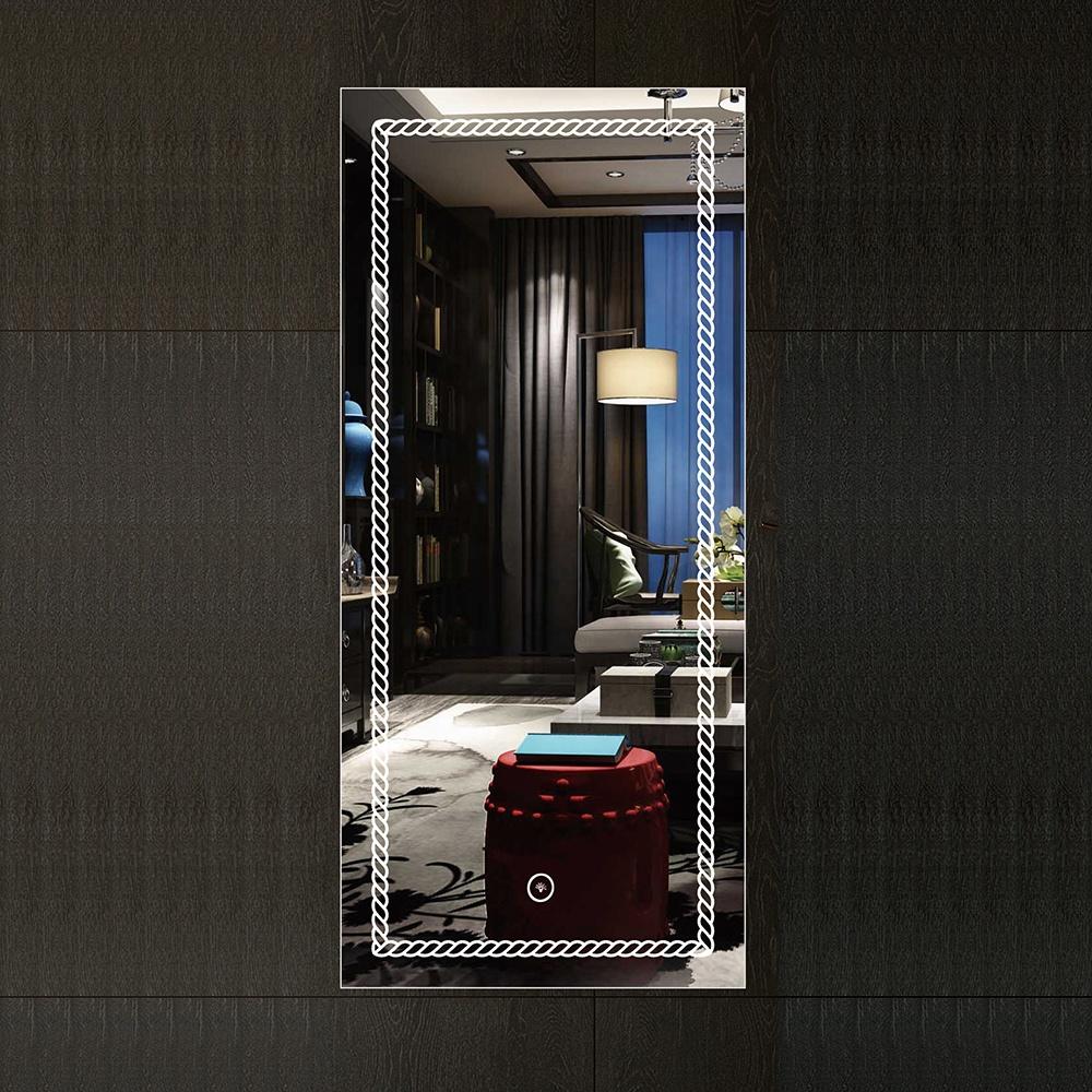 2002 hot sell Modern Style Rectangular Time display Mirror Bathroom with antifog Bluetooth mirror
