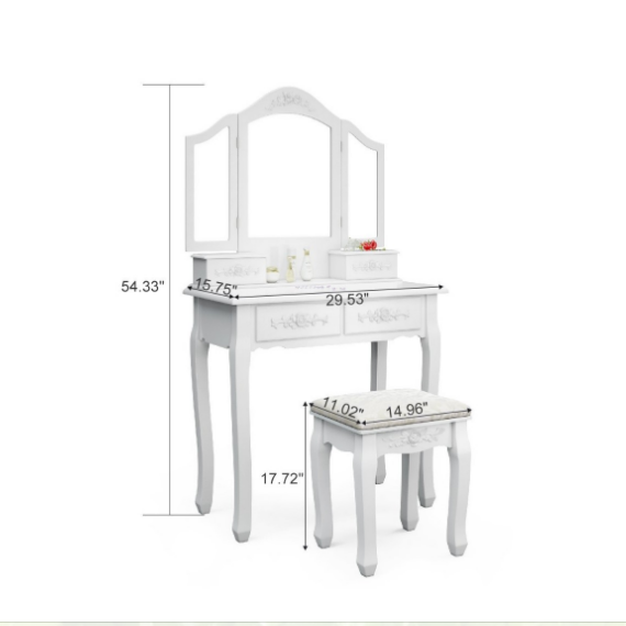 French style bedroom furniture wooden white dressing makeup vanity table with mirror