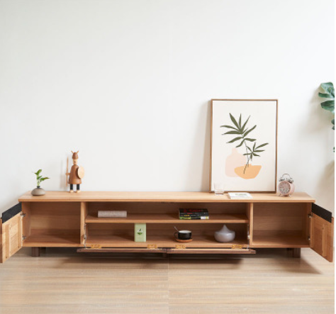 Nordic type sitting room furniture tea table TV cabinet red oak solid wood modern simple small family TV cabinet