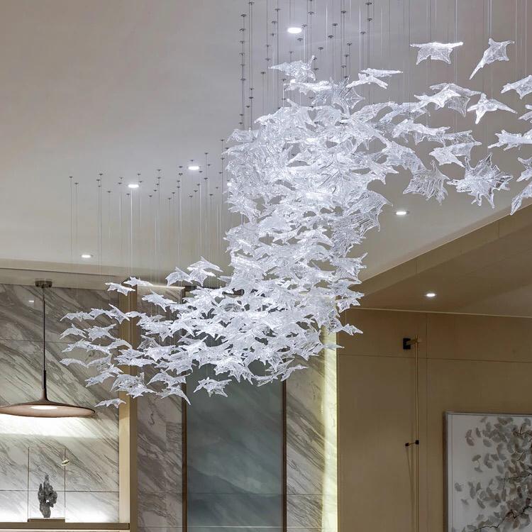 Hotel Large decoration modern customized Acrylic ABS LED chandelier light