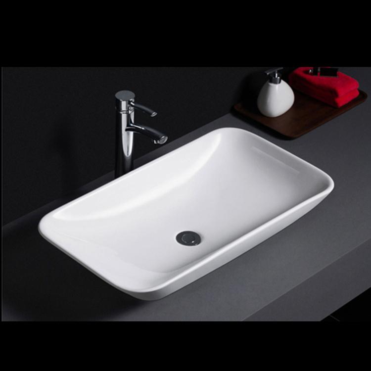 584 Factory direct sell rectangle shape porcelain washbasin bathroom vanity basin