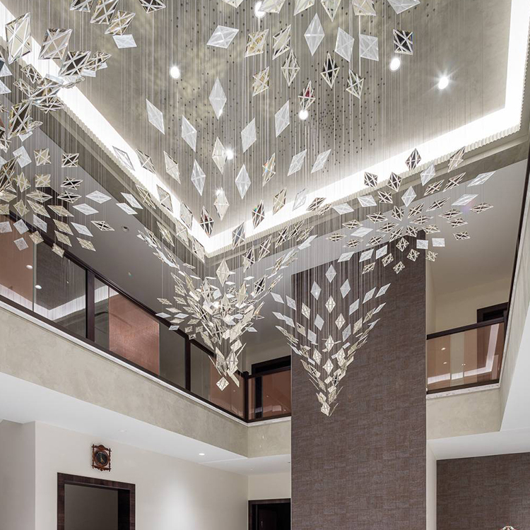 Factory supply luxury hotel lobby K9 crystal custom Big project chandelier pendant light