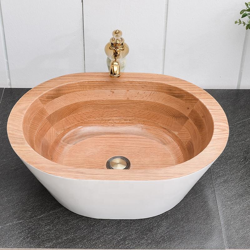 European standard bathroom sink wooden hand wash basin Pedestal