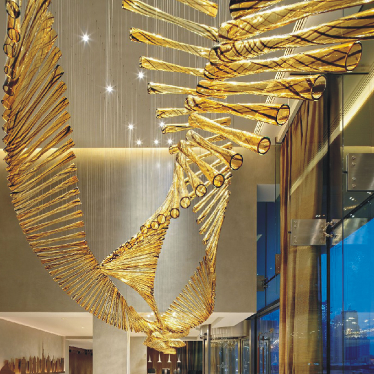 Golden Deluxe glass customized hotel lobby modern chandelier pendant lamp