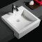 593 single tap hole hotel used rectangle shape ceramic semi-recessed basin