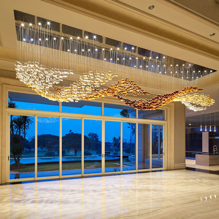 Contemporary hight quality custom luxury crystal big project chandelier pendant lamp