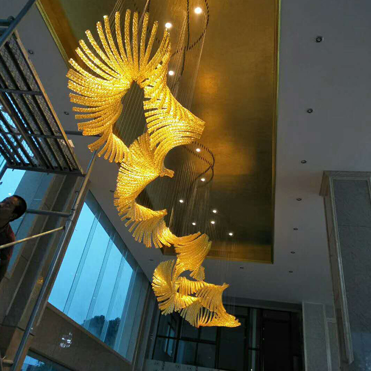 Contemporary Decoration indoor LED Glass chandelier pendant ceiling lamp