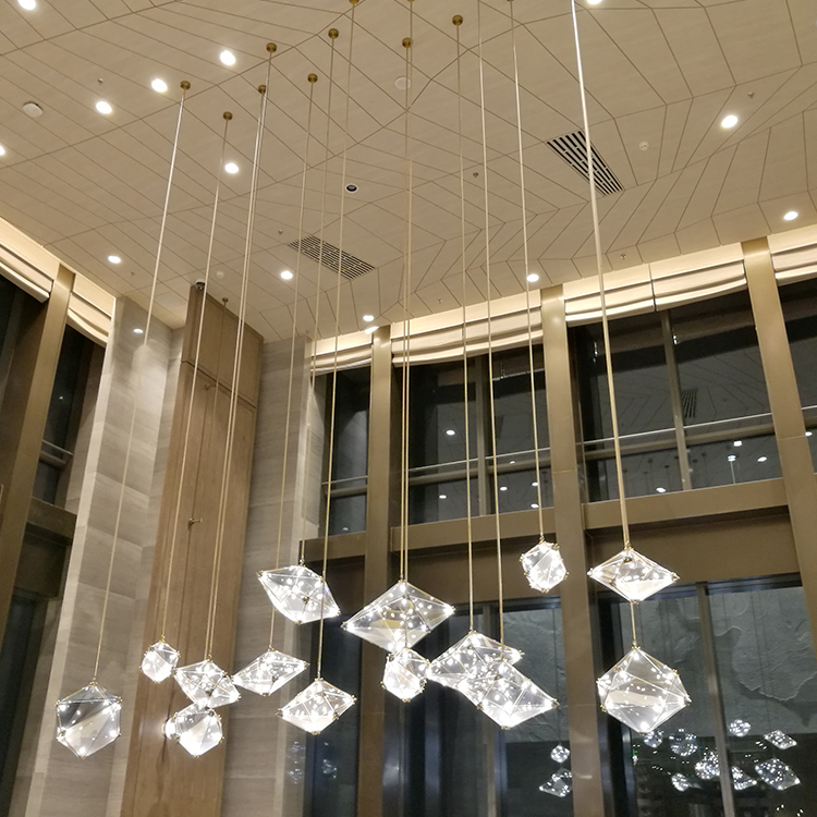 Creative personality hotel glass crystal indoor decoration customizable luxury modern chandelier