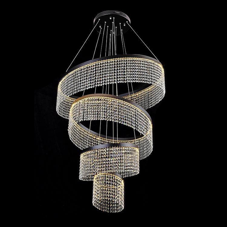 New design custom luxury Hotel glass crystal 24w 36w 50w modern led chandelier hanging light