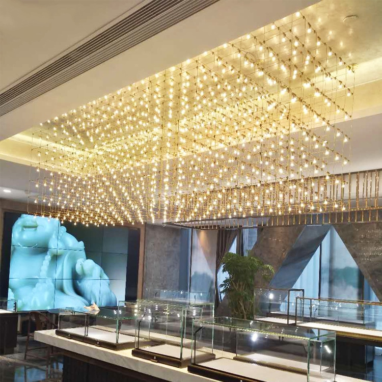 Modern Customizable led crystal european suspension luxury glass chandelier ceiling lamp
