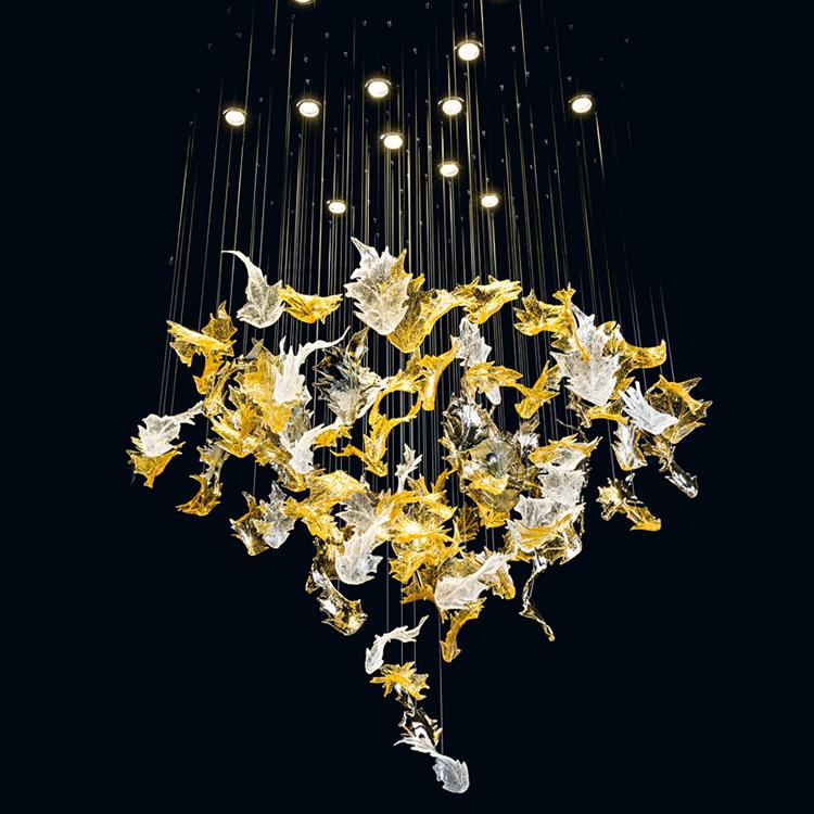 Custom lighting modern fashion art hotel club maple leaf type decorative led chandelier