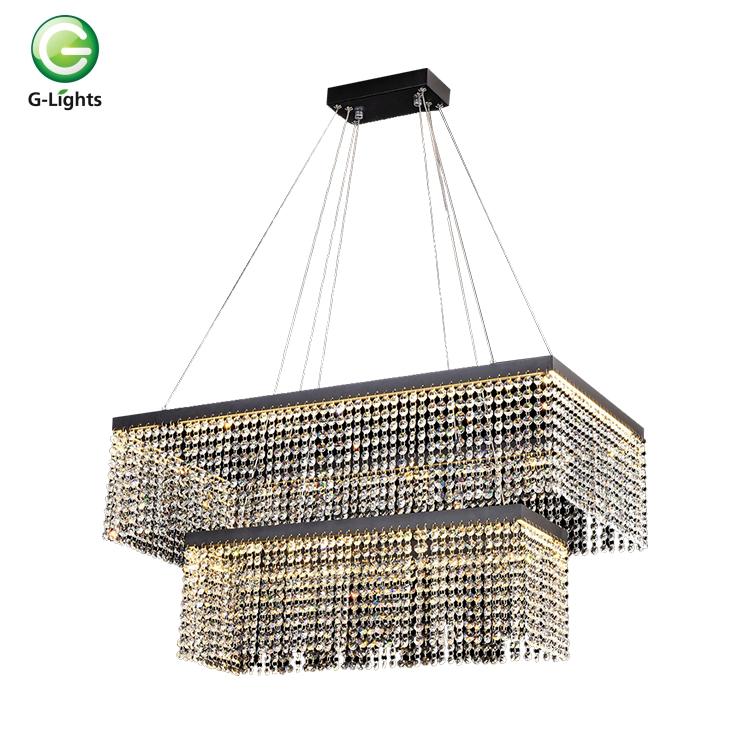 Hotel modern decoration K9 crystal 3000k 60w rectangle chandelier ceiling LED pendant light